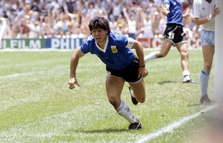 Maradona celebrando el gol del siglo